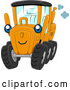 Vector of Cartoon Blue Eyed Motor Grader Character by BNP Design Studio