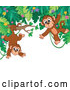 Vector of Cartoon Border of Jungle Foliage with Playful Monkeys by Visekart