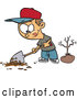 Vector of Cartoon Boy Digging a Hole to Plant a Tree on Arbor Day by Toonaday