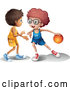 Vector of Cartoon Boys Playing Basketball by Graphics RF