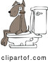 Vector of Cartoon Brown Dog Pooping on a Toilet by Djart