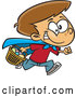Vector of Cartoon Brunette White Boy Wearing a Cape and Running at an Easter Egg Hunt by Toonaday