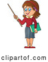 Vector of Cartoon Brunette White Female Teacher Holding a Pointer Stick by Visekart