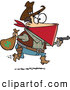 Vector of Cartoon Charles Earl Bowles, Black Bart Outlaw Running with a Stolen Bag of Money While Pointing a Gun Forward by Toonaday