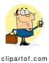 Vector of Cartoon Chatty White Business Man Holding a Briefcase and Cell Phone by Hit Toon