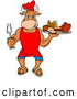 Vector of Cartoon Chef Bull Holding a Bbq Platter of Meats by LaffToon