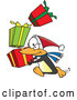 Vector of Cartoon Christmas Penguin Rushing with Stack of Presents by Toonaday