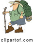 Vector of Cartoon Chubby Guy in Hiking Gear, Holding a Stick by Djart