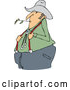 Vector of Cartoon Chubby White Male Farmer Holding His Suspenders and Chewing on Straw by Djart