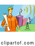 Vector of Cartoon Communications Engineer Guy with Satellite Dishes by BNP Design Studio