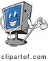 Vector of Cartoon Computer Monitor Mascot Holding a Diagnostics Stethoscope by Patrimonio
