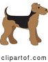 Vector of Cartoon Cute Airedale Terrier Puppy Dog in Profile by Maria Bell
