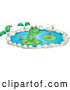 Vector of Cartoon Cute Frog in a Lily Pad Pond by Graphics RF