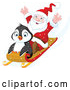 Vector of Cartoon Cute Penguin and Santa Going Downhill on a Sled by Pushkin