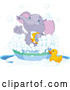 Vector of Cartoon Cute Purple Elephant Bathing in a Tub by Pushkin