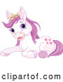 Vector of Cartoon Cute Resting Purple Princess Pony Wearing a Crown by Pushkin