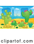 Vector of Cartoon Desert Landscape with Cacuts and Aloe Plants by Visekart