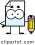 Vector of Cartoon Document Mascot Holding a Pencil by Cory Thoman