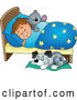Vector of Cartoon Dog Sleeping by a Brunette White Boy in Bed with a Teddy Bear by Visekart