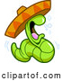 Vector of Cartoon Drunk Tequila Worm Wearing a Mexican Sombrero Hat by Clip Art Mascots