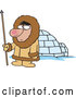 Vector of Cartoon Eskimo Hunter Guy by an Igloo by Toonaday