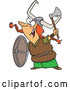 Vector of Cartoon Excited Red Haired White Female Viking Ready for Battle by Toonaday