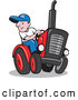 Vector of Cartoon Farmer Driving a Tractor by Patrimonio