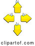 Vector of Cartoon Four Yellow Arrow Heads Facing Different Directions by Cory Thoman
