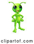 Vector of Cartoon Friendly Green Alien with Its Hands on Its Hips by AtStockIllustration