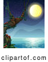 Vector of Cartoon Full Moon over the Ocean with Ants on a Tree by Graphics RF