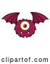 Vector of Cartoon Furry Bat Winged Purple Cyclops Monster Flying by Hit Toon