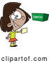 Vector of Cartoon Girl Putting a Note in a Suggestion Box by Toonaday