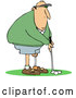 Vector of Cartoon Golfing White Guy with an Artificial Prosthetic Leg by Djart