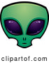Vector of Cartoon Green Alien Face with Big Purple Eyes by John Schwegel