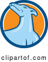 Vector of Cartoon Greyhound Dog in a Blue White and Orange Circle by Patrimonio