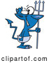 Vector of Cartoon Grinning Blue Devil with a Crooked Tail by Toonaday