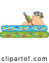 Vector of Cartoon Guy Holding a Squirt Gun in a Kiddie Pool by Djart