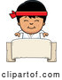 Vector of Cartoon Happy Asian Karate Boy Smiling over a Blank Banner Sign by Cory Thoman