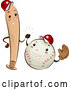 Vector of Cartoon Happy Baseball Bat and Ball Characters Giving a High Five by BNP Design Studio