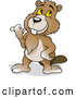 Vector of Cartoon Happy Beaver Pointing to the Left by Dero