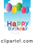 Vector of Cartoon Happy Birthday Text with Balloons Against Sky by Graphics RF