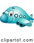 Vector of Cartoon Happy Blue Passenger Airplane by BNP Design Studio