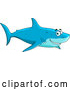 Vector of Cartoon Happy Blue Shark Smiling and Swimming by Vector Tradition SM