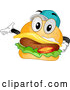 Vector of Cartoon Happy Cheeseburger Character Wearing a Baseball Cap and Presenting by BNP Design Studio
