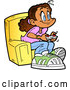 Vector of Cartoon Happy Girl Sitting in a Chair and Playing Video Games by Clip Art Mascots