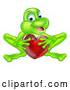 Vector of Cartoon Happy Green Frog Crouching and Holding a Glassy Red Heart by AtStockIllustration