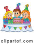 Vector of Cartoon Happy KChildren Around a Cake and Pesents at a Birthday Party by Visekart