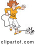 Vector of Cartoon Happy Puppy Dog Running and Tangling a White Lady in a Leash by Johnny Sajem