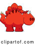 Vector of Cartoon Happy Red Stegosaurus Dinosaur by Cory Thoman