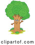 Vector of Cartoon Happy Waving Tree by Visekart